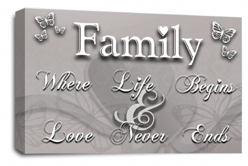 Family Quote Canvas Wall Art Picture Powder Grey Love Print
